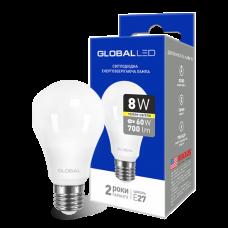 Светодиодная LED лампа GLOBAL A60 8W мягкий свет 220V E27 AL 1-GBL-161