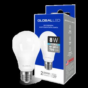 Светодиодная LED лампа GLOBAL A60 8W яркий свет 220V E27 AL 1-GBL-162