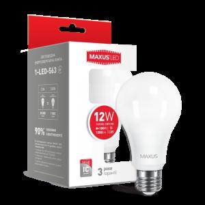 Светодиодная LED лампа MAXUS A65 12W мягкий свет E27 1-LED-563