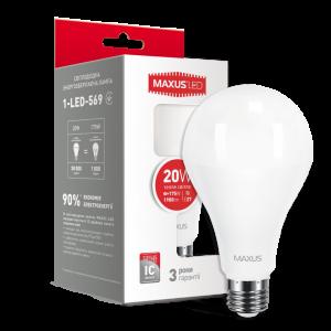 Светодиодная LED лампа MAXUS A80 20W 3000K E27 1-LED-569