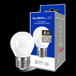 Светодиодная LED лампа GLOBAL G45 F 5W мягкий свет 220V E27 AP 1-GBL-141