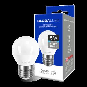 Светодиодная LED лампа GLOBAL G45 F 5W яркий свет 220V E27 AP 1-GBL-142