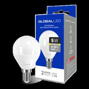Светодиодная LED лампа GLOBAL G45 F 5W мягкий свет 220V E14 AP 1-GBL-143