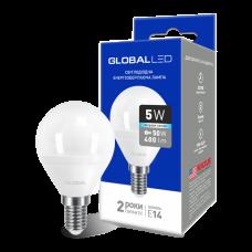Светодиодная LED лампа GLOBAL G45 F 5W яркий свет 220V E14 AP 1-GBL-144