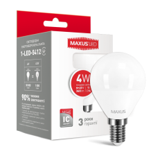 Светодиодная LED лампа MAXUS G45 F 4W яркий свет E14 1-LED-5412