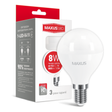 Светодиодная LED лампа MAXUS G45 F 8W 3000K E14 1-LED-5415