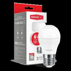 Светодиодная LED лампа MAXUS G45 6W яркий свет E27 1-LED-542