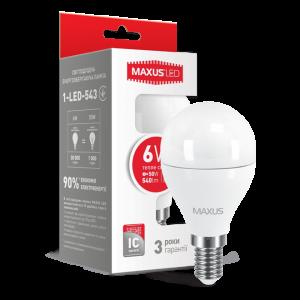 Светодиодная LED лампа MAXUS G45 6W мягкий свет E14 1-LED-543