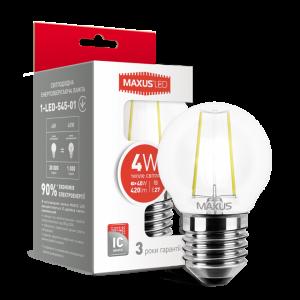 Светодиодная LED лампа MAXUS G45 FM 4W теплый светE27 1-LED-545-01