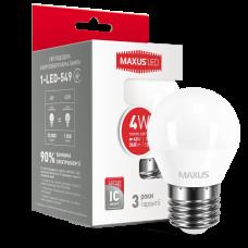 Светодиодная LED лампа MAXUS G45 F 4W мягкий свет E27 1-LED-549