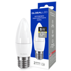 Светодиодная LED лампа GLOBAL C37 CL-F 5W мягкий свет 220V E27 AP 1-GBL-131