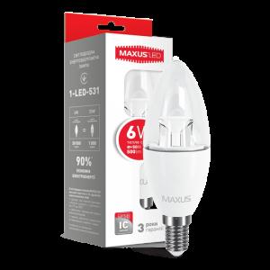 Светодиодная LED лампа MAXUS C37 6W мягкий свет E14 1-LED-531