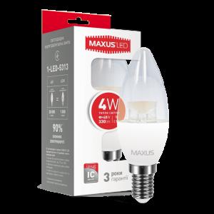 Светодиодная LED лампа MAXUS C37 CL-C 4W мягкий свет E14 1-LED-5313