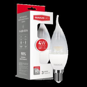 Светодиодная LED лампа MAXUS C37 CL-T 4W яркий свет E14 1-LED-5316