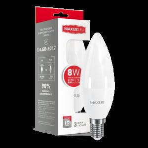 Светодиодная LED лампа MAXUS C37 CL-F 8W 3000K E14 1-LED-5317
