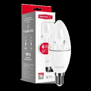 Светодиодная LED лампа MAXUS C37 6W яркий свет E14 1-LED-532