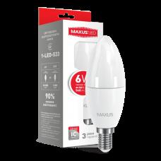 Светодиодная LED лампа MAXUS C37 6W мягкий свет E14 1-LED-533