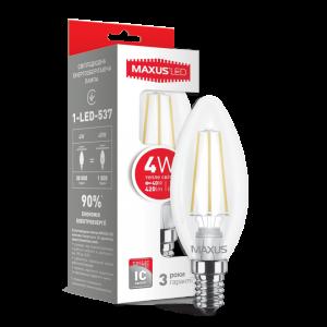 Светодиодная LED лампа MAXUS филамент C37 4W мягкий светE14 1-LED-537