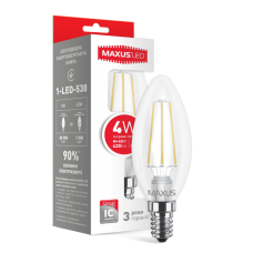 Светодиодная LED лампа MAXUS филамент C37 4W яркий светE14 1-LED-538