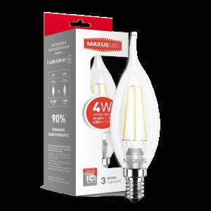 Светодиодная LED лампа MAXUS C37 FM-T 4W 3000K E14 1-LED-539-01