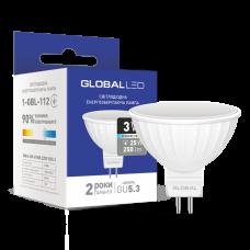 Светодиодная LED лампа GLOBAL MR16 3W яркий свет 220V GU5.3 1-GBL-112