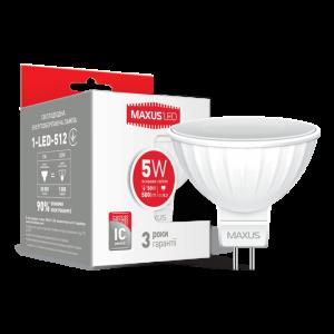 Светодиодная LED лампа MAXUS MR16 5W яркий свет GU5.3 AP 1-LED-512