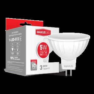 Светодиодная LED лампа MAXUS MR16 5W мягкий свет GU5.3 AP 1-LED-513