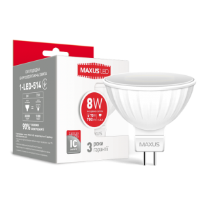 Светодиодная LED лампа MAXUS MR16 8W яркий свет GU5.3 1-LED-514